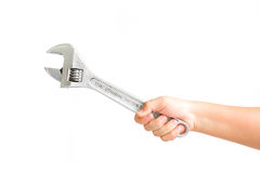 Wrench in hand. On a white background for design Stock Photography