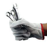 Wrench in hand Stock Photo