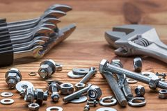 Wrench kit and bolts Royalty Free Stock Images