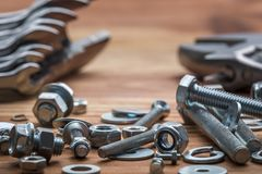Wrench kit and bolts Stock Image