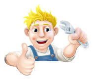 Wrench man over banner thumbs up Stock Images