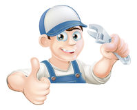 Wrench man over banner thumbs up Royalty Free Stock Photos