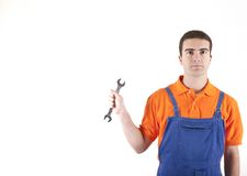 Wrench and mechanic Royalty Free Stock Photography