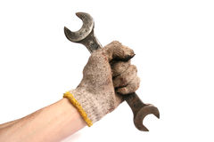 wrench in the mechanics hand royalty free stock photos