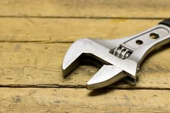 The wrench on the metal sheet Stock Photos