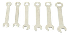 Wrench multi sizes. Multi sizes of Wrench use for minor repair arranged on white background Stock Photo