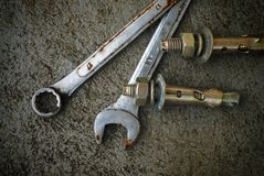 Wrench and nut Stock Photography