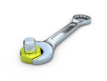 Wrench nut and screw Royalty Free Stock Image