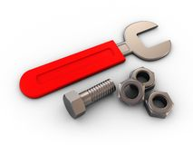 Wrench with nuts Royalty Free Stock Photo