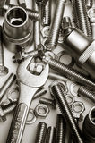 Wrench on nuts and bolts Stock Photos