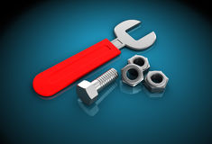 Wrench with nuts Stock Image