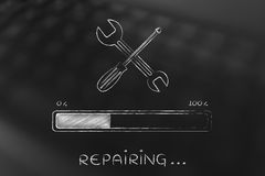 Wrench and progress bar, fix loading Royalty Free Stock Image