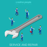 Wrench repair service flat isometric vector 3d Stock Image