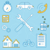 Wrench and screw driver illustration. Repair of house, car and bike, contract for work. budgeting and timing, call for a work Royalty Free Stock Photography