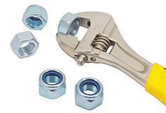 Wrench and screw nuts Stock Image