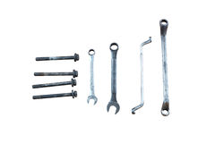Wrench and screw. On white background Stock Images