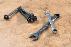 Wrench and screw. On white background Stock Photography