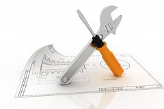 Wrench and screwdriver with draft Royalty Free Stock Photography