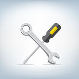 Wrench and screwdriver icon. The screwdriver and wrench icon on light mesh background, settings symbol Stock Images
