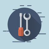 wrench and screwdriver icons image stock illustration