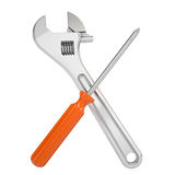 Wrench and a screwdriver Stock Images