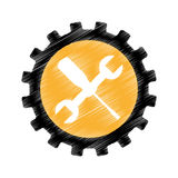 Wrench and screwdriver mechanic tools icon Royalty Free Stock Photo