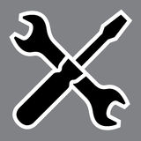 Wrench and screwdriver. Repair workshop emblem - v Stock Photos
