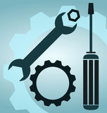 Wrench and screwdriver. Wrench symbol and screwdriver icon royalty free illustration