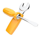 Wrench and screwdriver tool.  3D illustration Royalty Free Stock Images