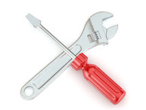 Wrench and screwdriver. Tools. 3d Royalty Free Stock Photos