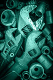 Wrench, screws, nuts. Royalty Free Stock Images