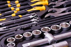Wrench socket tool box Royalty Free Stock Images