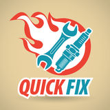 Wrench and spark-plug, fireball. Auto repair. Vector illustration Stock Photo