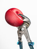 Wrench squeezing red stress ball Stock Photography