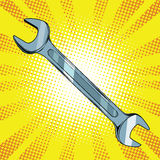 Wrench steel tool. Pop art retro vector, realistic hand drawn illustration royalty free illustration