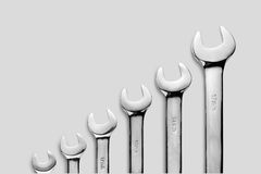 The wrench steel tools for repair and build in composition until small size to biggest size Stock Photography