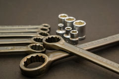 The wrench steel tools for repair and build in composition Stock Photo