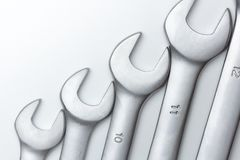 The wrench steel tools for repair. On white background stock photography