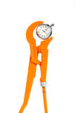 Wrench and stopwatch Royalty Free Stock Image