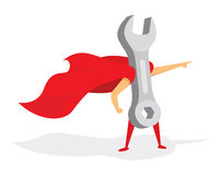 Wrench super hero standing or mechanic with cape Stock Images