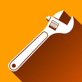 Wrench Symbol, Long Shadow, Vector Illustration Stock Photos