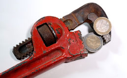 Wrench. The wrench tight euro money Stock Images