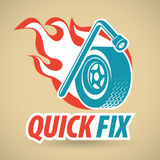 Wrench and tire, wheel, fireball. Auto repair, replacing wheels. Vector illustration Stock Photos