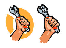 Wrench, tool or in hand. Repair, service, maintenance, support icon or logo. Cartoon vector illustration Royalty Free Stock Photos
