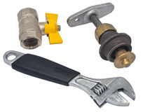 Wrench and Water valve set Stock Photos