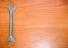 wrench on wooden planks Stock Image