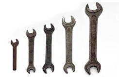 Wrenches. Old rusty wranches on white background Royalty Free Stock Photos