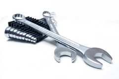 Wrenches. Group of wrenches on white background Royalty Free Stock Photography