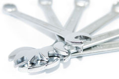 Wrenches 2. Different sized wrenches with a white background Royalty Free Stock Images