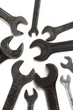 Wrenches. Old, grunge wrenches on white Stock Photos